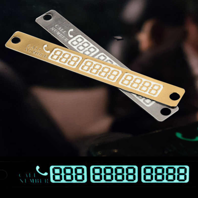 3D Phone Number Card Plate Sucker Car Body Sticker For Telephone Number Temporary Car Parking Card With Night Luminous