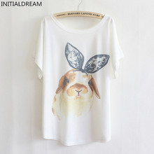 2019 Summer Casual Women T Shirt Tops New print Cartoon Rabbit Women's Loose Plus Size T-shirt Top Tees