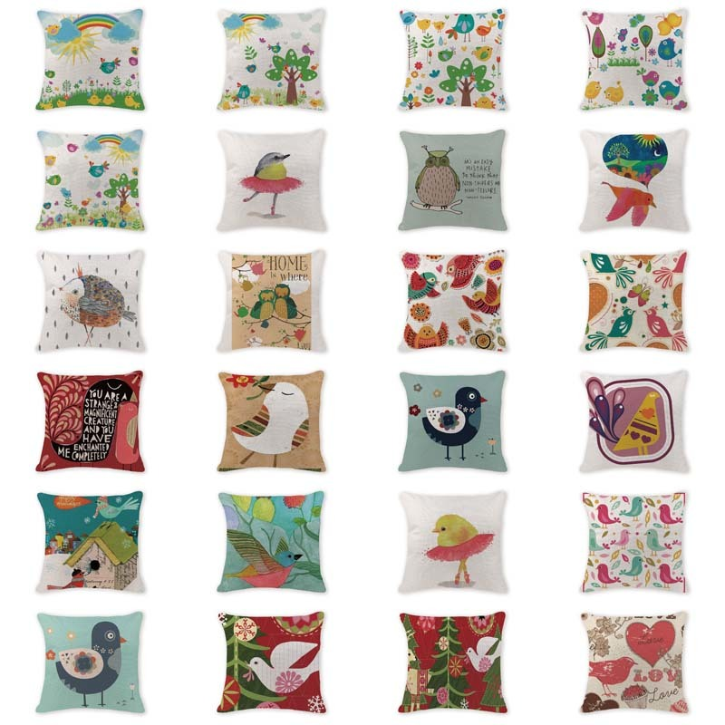 Designer Cushion Covers Cartoon Cute Bird Animal Pillow Case Recliner 45*45Cm Cotton Lin ...
