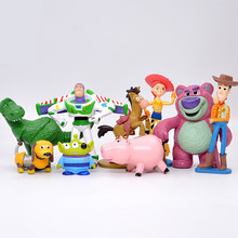 9pcs/set Buzz Lightyear Woody Jessie Lotso Rex Dinosaur Bullseye Horse little green men Figure Toys