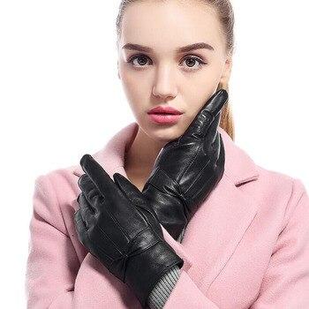 SUOGRY alta calidad elegante mujer piel de cordero genuina Otoño e Invierno térmico caliente moda femenina guante