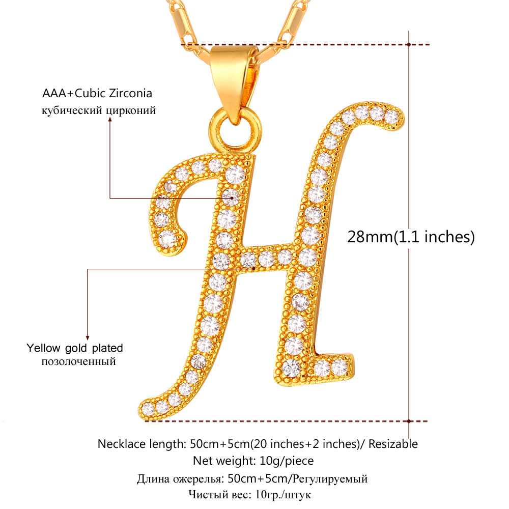 d462f0c3830c Initial H Letter Pendants   Necklaces WomenMen Personalized Gift Alphabet  Jewelry Gold Color Necklace P1678-in Pendant Necklaces from Jewelry    Accessories ...