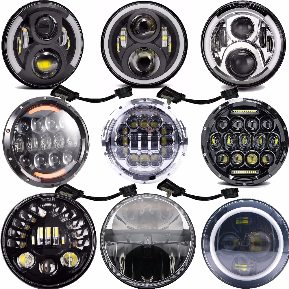 Home 50w 7 Led Headlight Drl For Harley Road King Street Glide Ultra Classic Electra Glide Heritage Softail Fatboy Deluxe Yamaha