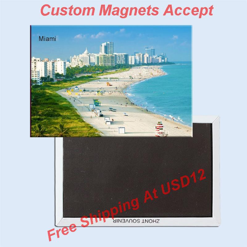 Magneti da viaggio USA Home Decor Stickers, Magnete da frigorifero Florida Miami Beach Souvenir 5676