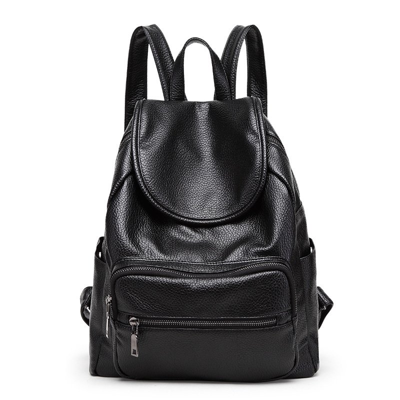 Vintage Women Backpack Black PU Leather School Bag Backpacks for Teenage Girls Casual Large Capacity Shoulder Bags sgarr women backpack nylon fashion waterproof school bag for teenage girls large capacity travel backpacks with earphone hole
