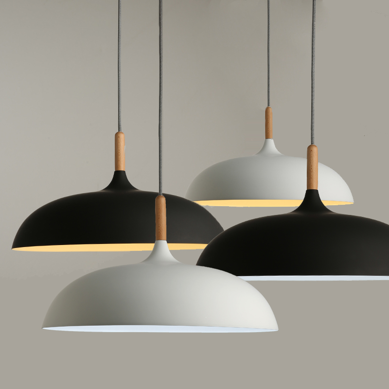 Минималистичные современные подвесные лампы E27 деревянный и алюминиевый абажур подвесные и подвесные светильники 110 В 220 В для художественн...