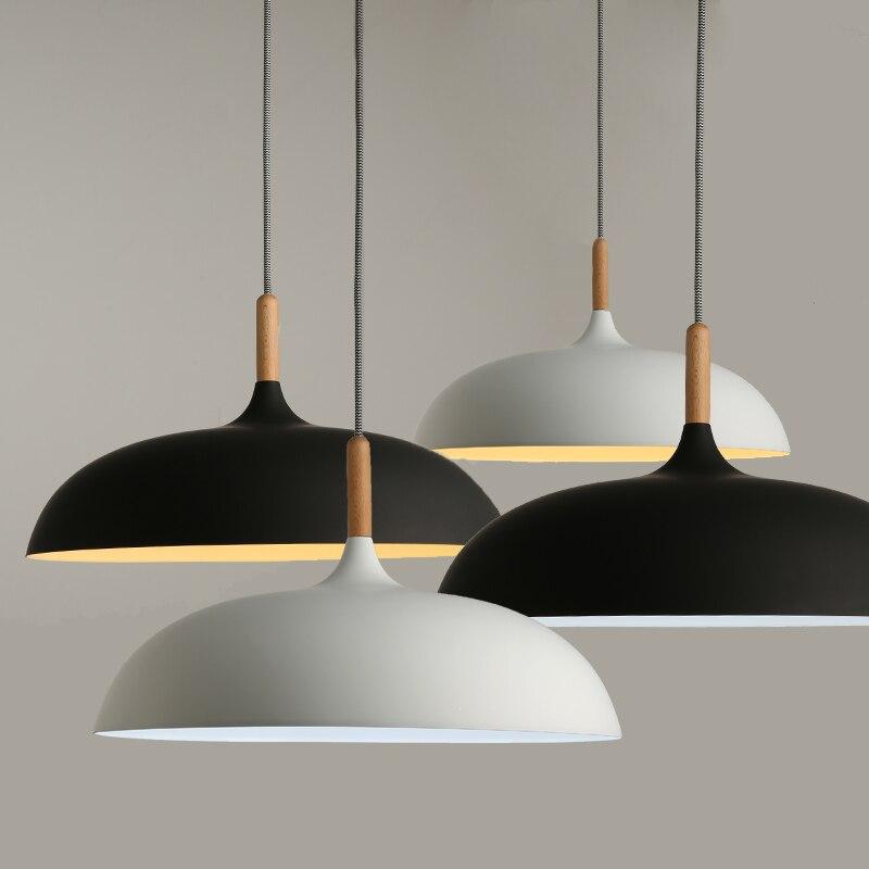 Lampes suspendues modernes minimalistes E27 bois et aluminium abat-jour suspendus et suspensions 110V 220v pour Art décor Luminaire