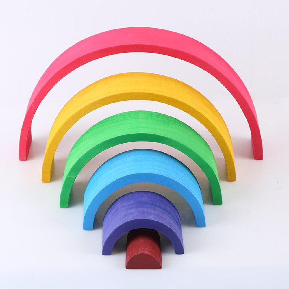 12 pièces enfants arc-en-ciel blocs bébé jouets ensemble créatif Montessori blocs de construction jouets éducatifs en bois constructeur empileur
