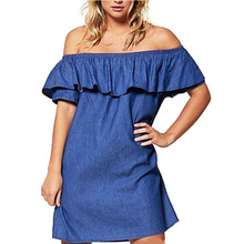 Women Sexy Off Shoulder Ruffles Dress Casual Strapless Denim Shirt Dresses Party Cocktail Mini