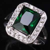 Impressive Rectangle Gems Green Cubic Zirconia 925 Sterling Silver Fashion Jewelrys For Women S Rings US