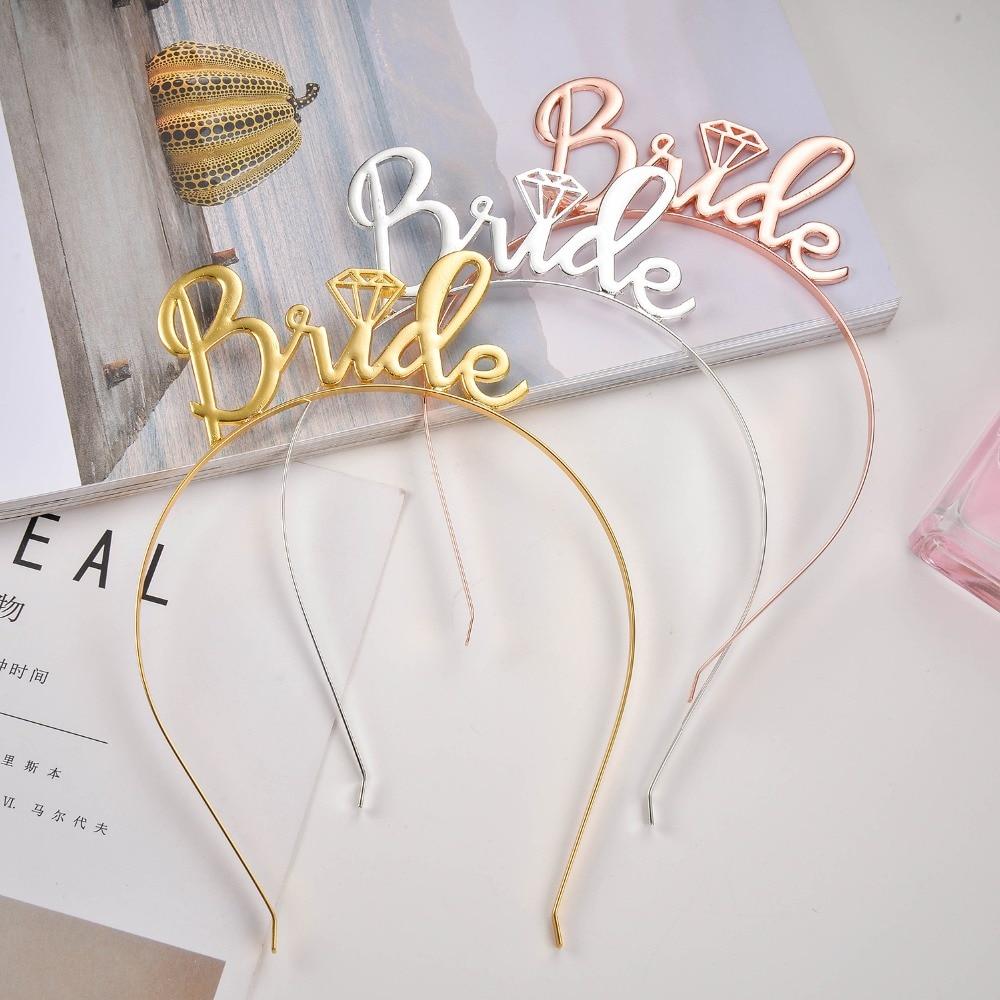 1pcs Gold Silver Bride Hair Accessories Bachelorette Party Bridal ...