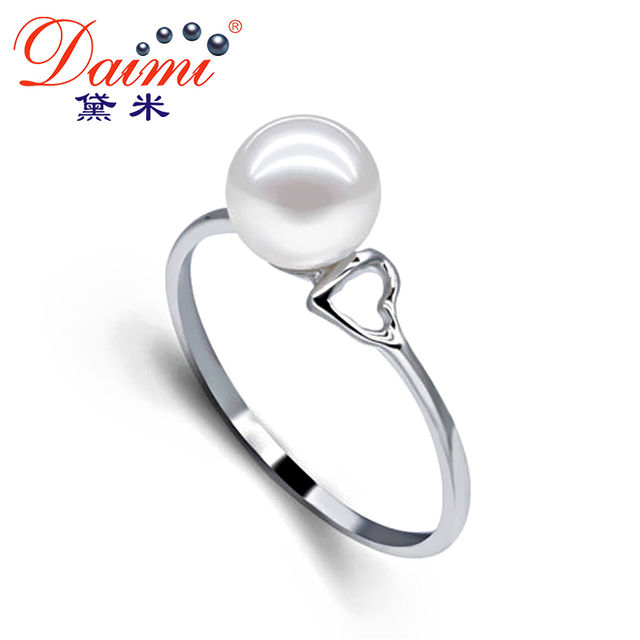 [Daimi] 6-7mm White /Purple Freshwater Pearl 925 Sterling Silver Ring Free Shipping Brand jewelry FAY