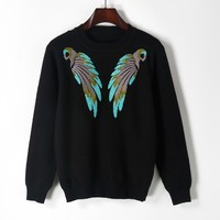 2018 Spring Blue Bird Embroidered Knitwear Jumper Round Neck All Matched Long Sleeve Jersey Women Pullover