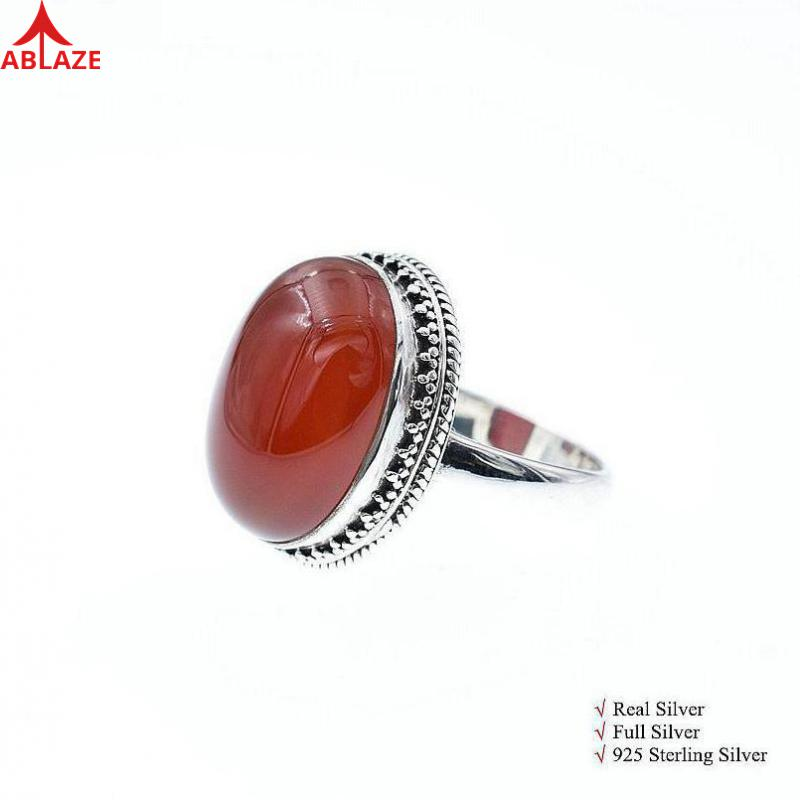 No Discount Quality Red Agate Rings, 925 Sterling Silver Ring Vintage Royal Agate Stones Rings Women Size 6 7 8 RH018