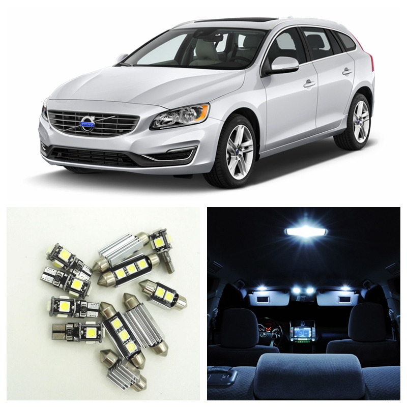 15pcs White Car Canbus LED Light Bulbs Interior Package Kit For 2011-2016 Volvo V60 Map Dome Trunk Footwell Lamp No Error 16pcs canbus car white led light bulbs interior package kit for 2011 2012 2013 2014 2015 volvo s60 map dome trunk door lamp