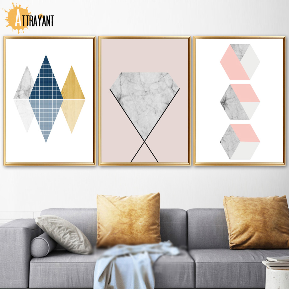Us 3 04 54 Off Mable Geometric Cube Abstract Mountain Wall Art Canvas Painting Nordic Posters And Prints Wall Pictures For Living Room Decor In