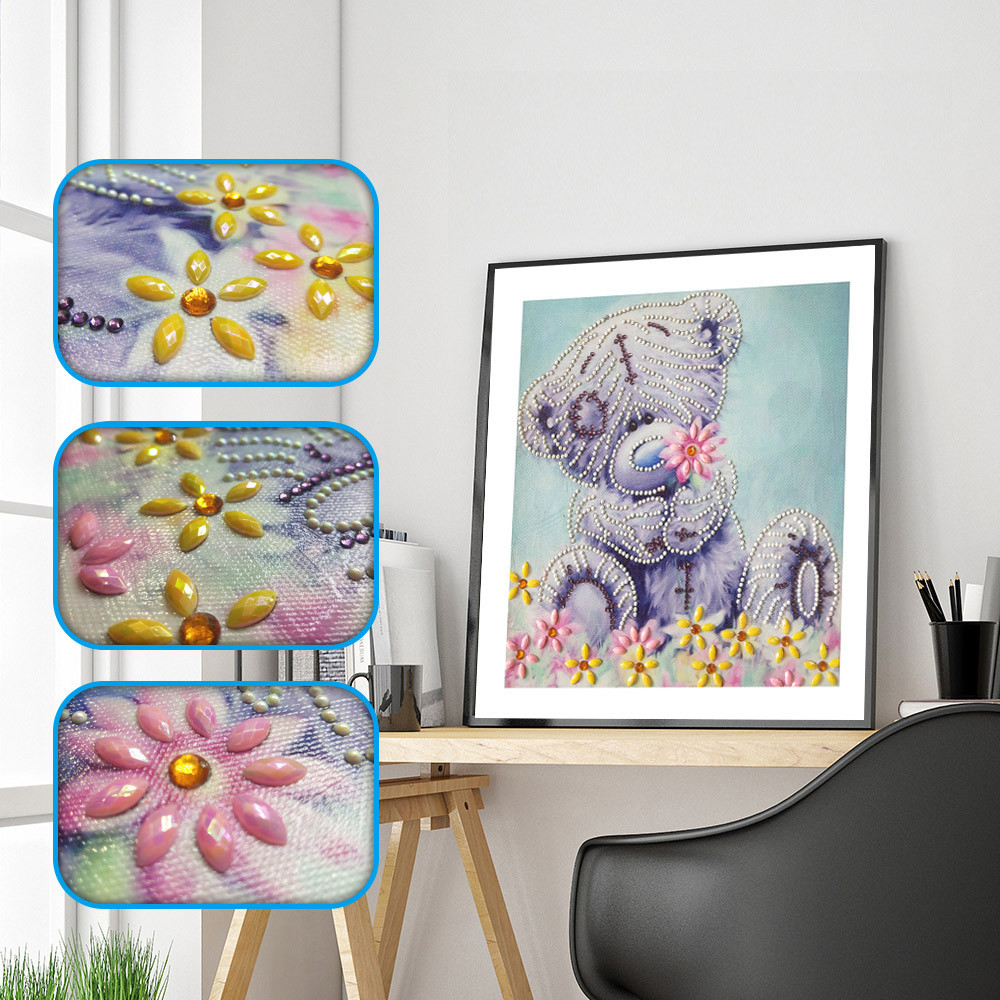 5D DIY Rhinestone Embroidery Cross Stitch Arts Craft for Home Wall Decor Stone Blue Flower 30x30cm Diamond Painting Kits Full Drill