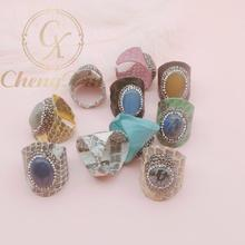 Delicate 5 PC natural pull feldspar stone ring, snakeskin pave the way to set crystal jewelry finger gem ring