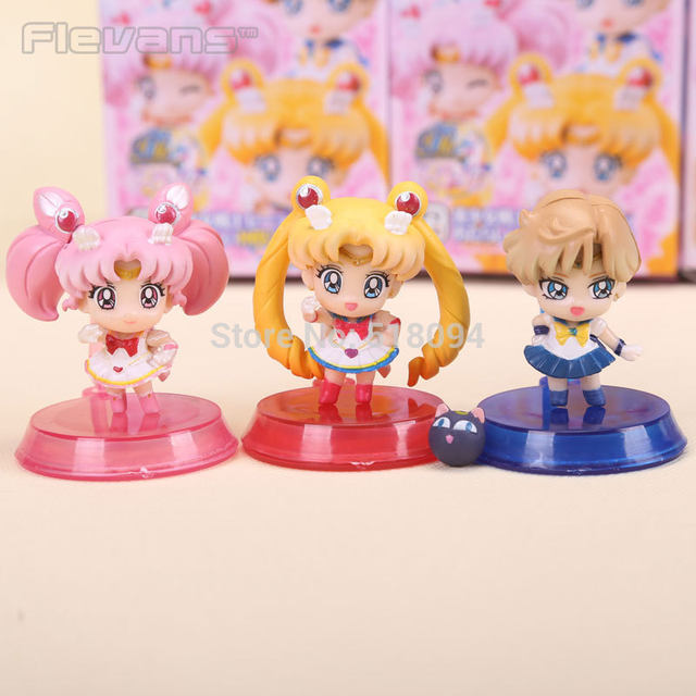 Anime Sailor Moon Tsukino Usagi Neptune Pluto Saturn Chibi PVC Action Figures Toys SAFG025