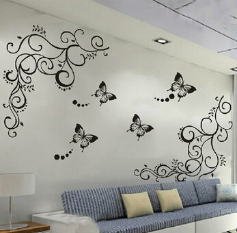 3D lowest price calssic black butterfly flower wall sticker home decor post..
