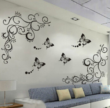 3D lowest price calssic black butterfly flower font b wall b font font b sticker b