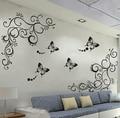 3D lowest price calssic black butterfly flower wall sticker home decor poster flora butterflies TV wall beautiful decoration