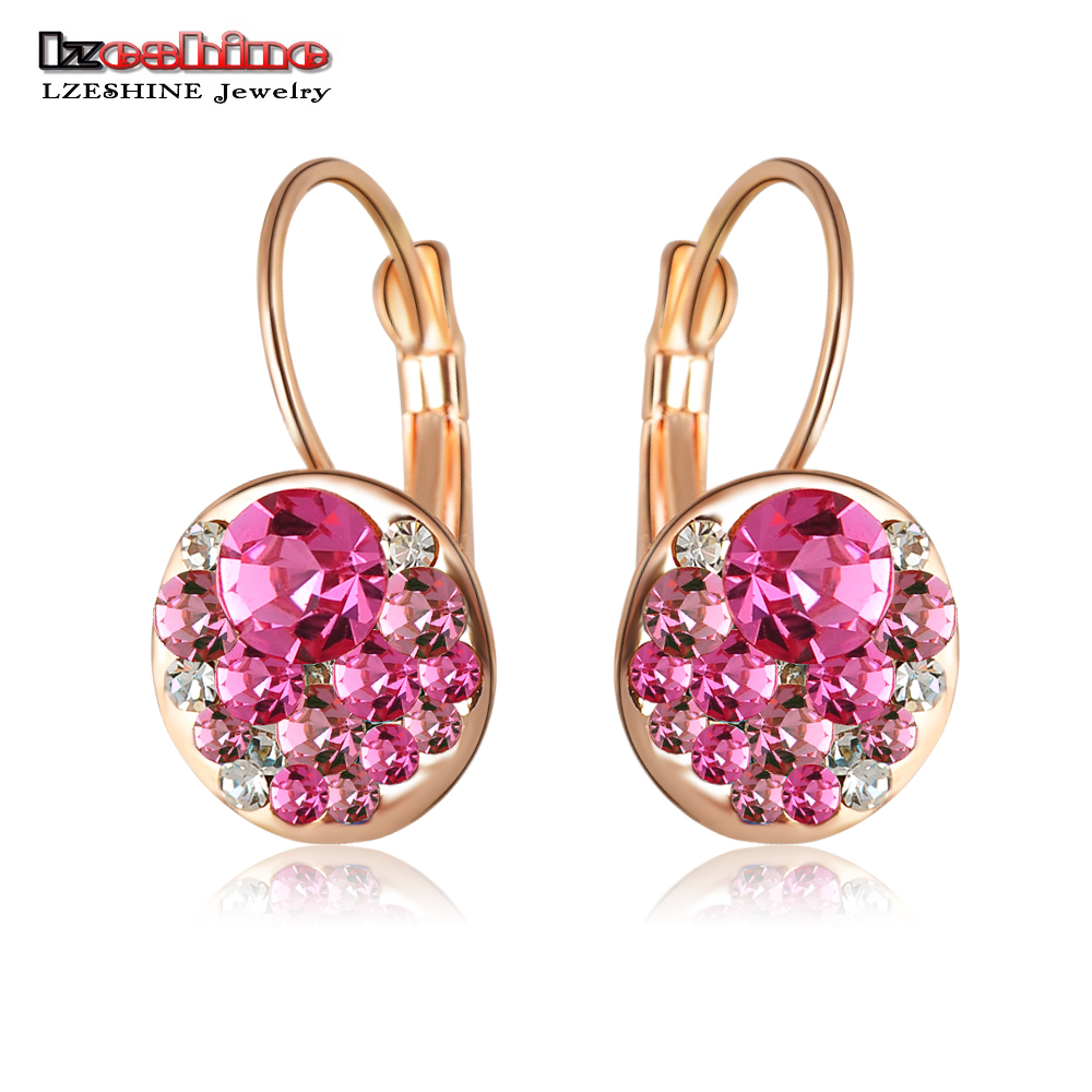 LZESHINE Brand Delicate Girls Earrings Stud Rose Gold Color With Austrian Crystals Fashion Round Earrings Wholesale ER0118