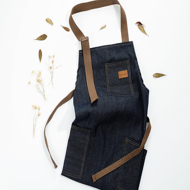 Adjustable Men Lady Denim Apron Bib Pocket Jeans Cafe Kitchen Cooking Canvas