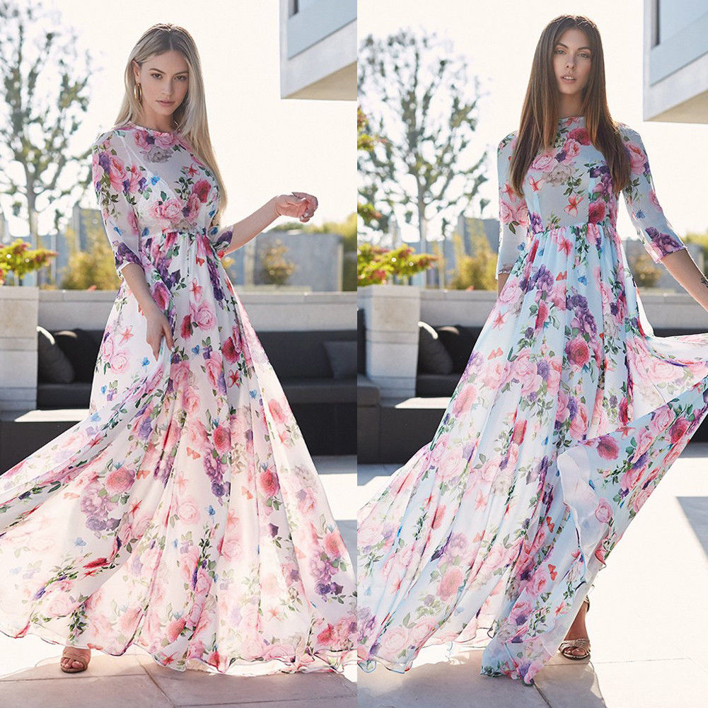 9e30d398e319 Women Dresse 2018 Summer Floral Long Sleeve Elastic Waist Print Floor Length  Elegant O-Neck Party Maxi Dress Vestidos De Festa