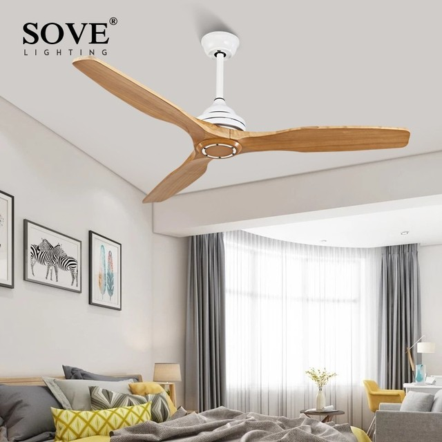 SOVE Modern Wooden Ceiling Fan Wood Ceiling Fans Without Light Home Decorative Room Ceiling Fan 220v Ventilador De Teto 220 Volt