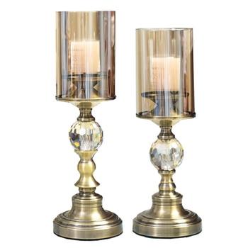 Metal Crystal Candelabra Wedding Gold Romantic Candle Holder Luxury European American Portavela Table Home Decoration 50ch015