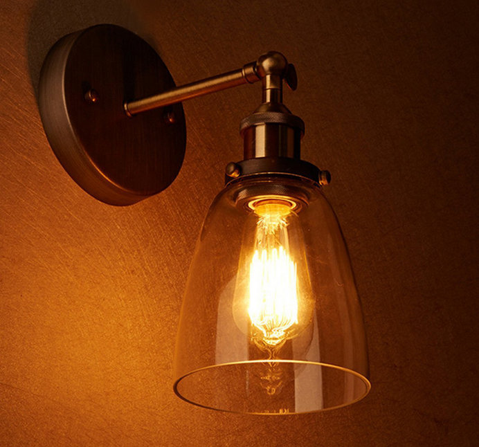 Loft Vintage Industrial Edison Wall lamps Clear Glass Wall Sconce Warehouse Wall Light Fixtures E27 110V/220V Bedside Lighting
