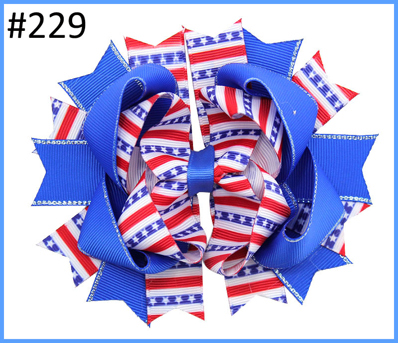 free shipping 30pcs Newest 4th of july hair bows funky hair bows bottle hair clips fourth
