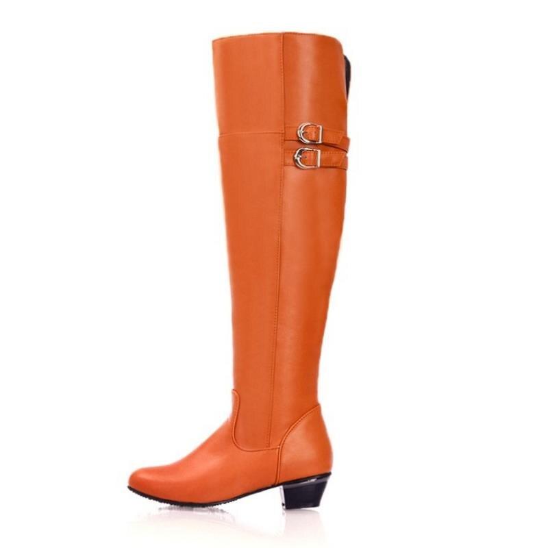 Sur Chevalier orange 47 Fourrure En Chaussures Taille D'hiver marron Plus Mode Noir Bottes Bureau blanc Métal Razamaza De Genou Boucle Le 30 Dames Femmes xCqTtnX4