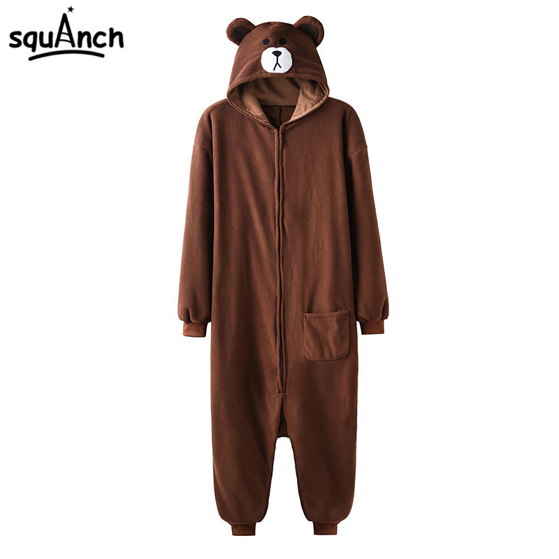 Animal Onesie Plush Size XXL Bear Kugurumi 150-190 Cm Adult Women Men Pajama Sleep Overall Polar Fleece Zipper Jumpsuit Brown