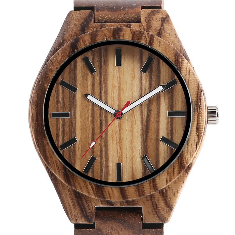 Creative Unique Natural Wooden Watches Mens Analog Style Zebra Full Bamboo Men Quart-watch Luxury Handmade Clock Gift For Male