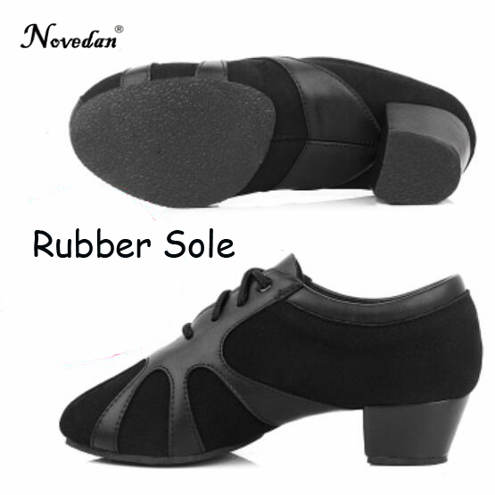 Modern Children Boys Mens Ballroom Latin Tango Dance Shoes Professional Leather Man Salsa Heeled Black Dancing Shoes Size 25-40