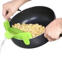 Силиконовые Анти-переполнение риса Овощной дуршлаг для мытья кухня сковорода фильтр-зажим-Тип дренажа для дренажа жидкости пособия по кули...