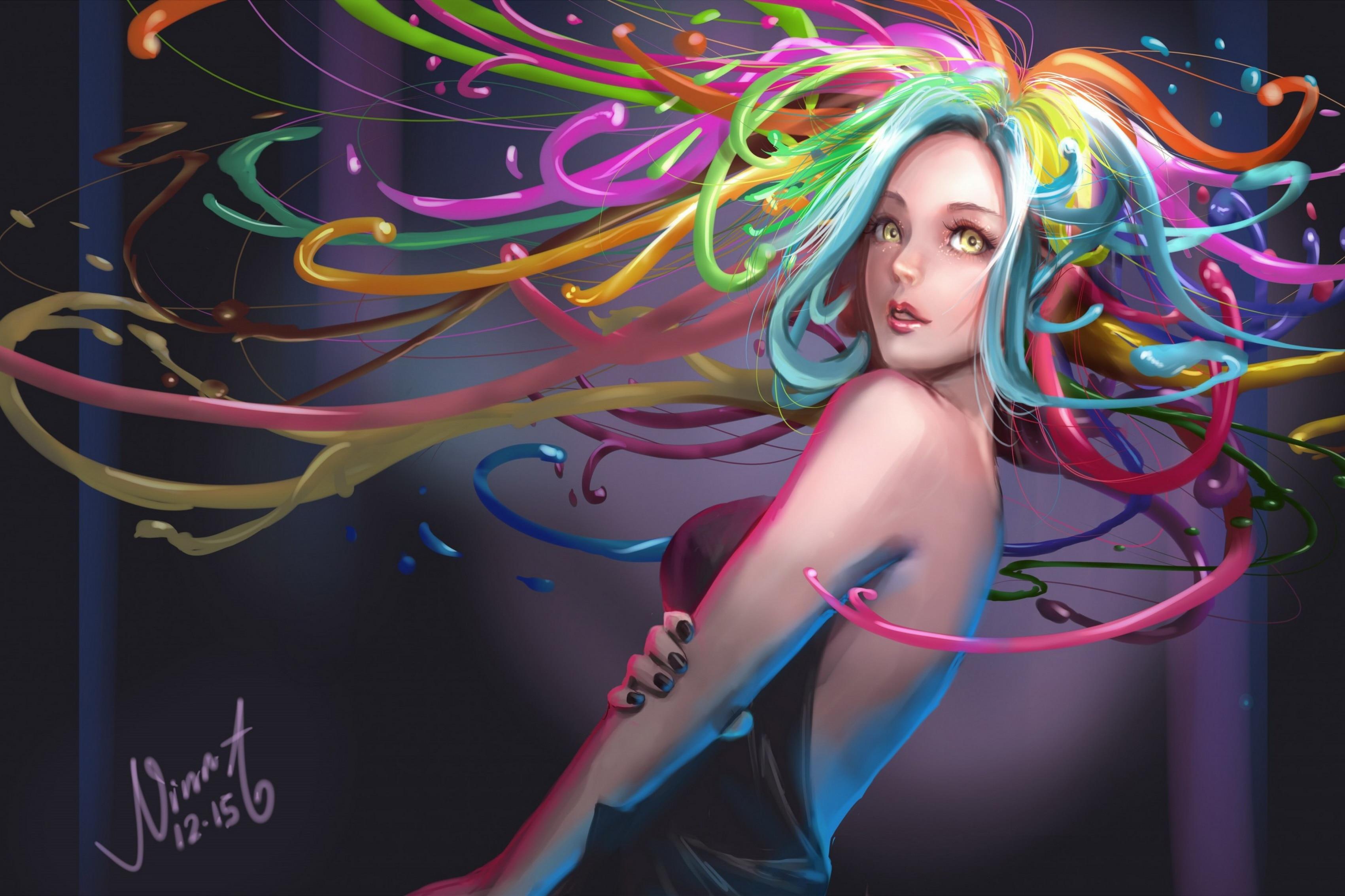 Art color hair - Home Decoration Anime Art Girl Glance Hair Colors Color Silk Fabric Poster Print Dm065 China