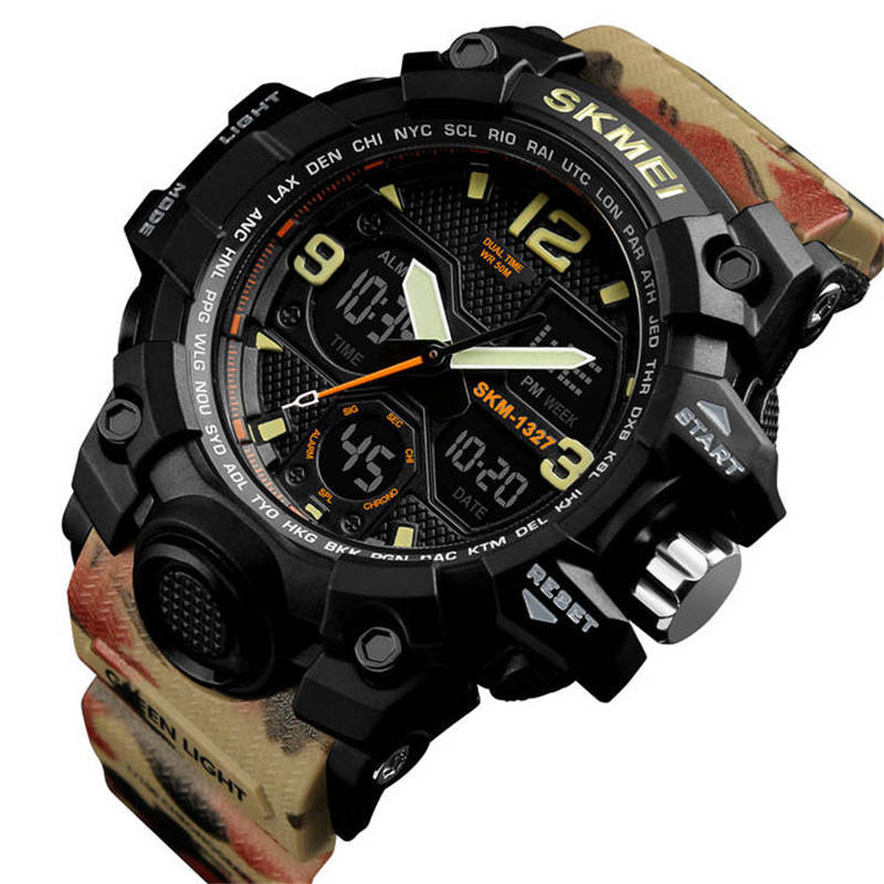 Swim 50M Waterproof Watch Outdoor Sports Men Watches Quartz Electronic Dual Display Military Style Multifunction Male Luminous ASwim 50M Waterproof Watch Outdoor Sports Men Watches Quartz Electronic Dual Display Military Style Multifunction Male Luminous A