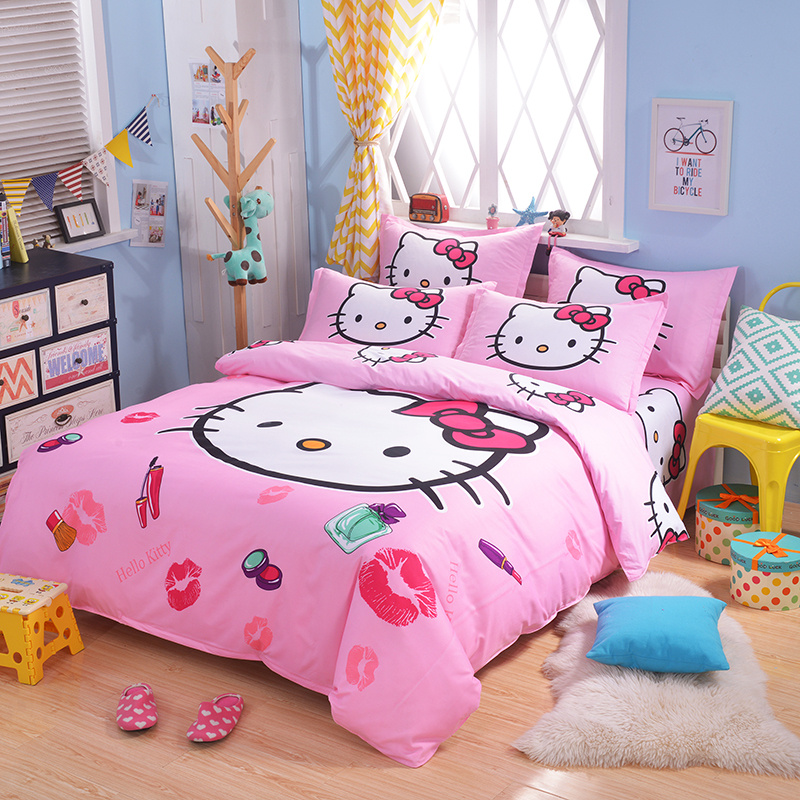 UNIKIDS Cute cartoon duvet cover set bedding set for Kids boy or girls Twin size KT015 blue pink cartoon london buss star shaped polka dot print bedding set queen size for girls home decor cotton duvet quilt covers