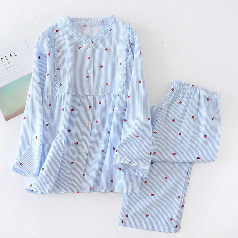 New 100% Cotton Gauze Vertical Stripes Maternity Wear Long Sleeve   Pajamas     Set   Round Neck Lactation Clothing Breastfeeding Suit