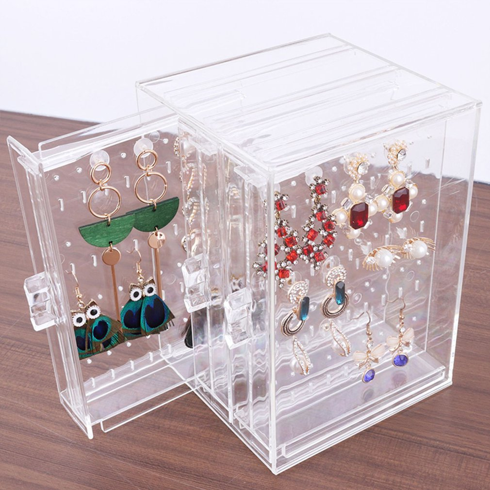 Transparent Jewelry Plastic Necklace Bracelet Rack Earrings Hanger Nail Art Display Stand Jewelry Organizer Storage Box Rack
