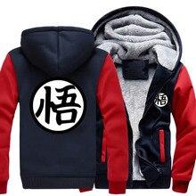 Kleidung marke Neue Winter Jacken und Mäntel Dragon Ball Z hoodie Anime Goku Mit Kapuze Dicke Reißverschluss Männer strickjacke Sweatshirt