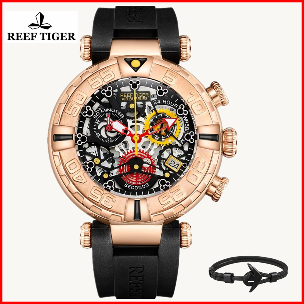 Reef Tijger/RT Top Merk Mens Sport Horloges Chronograaf Rose Gold Skeleton Horloges 100M Waterdicht reloj hombre masculino RGA3059-in Quartz Horloges van Horloges op  Groep 2