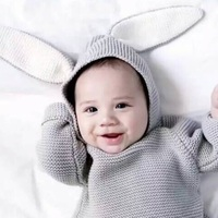 Autumn Fashion Baby Boys Sweaters With 3D Rabbit Hat Cotton Pullover Kids Girls Knitted Sweater For