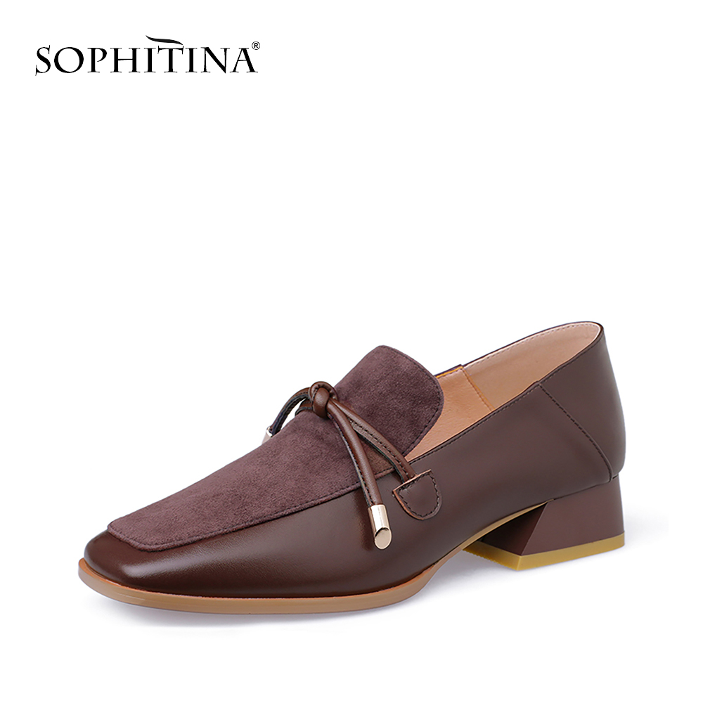 SOPHITINA New Party Women Pumps High Quality Genuine Leather Square Heel Slip On Shoes Hot Sale