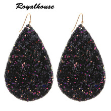 Royalhouse Earring flash Leather Alloy Drip Large Long Water Drop Big Earrings Woman stick Brinco Ear Oorbellen Christmas Gift цена в Москве и Питере