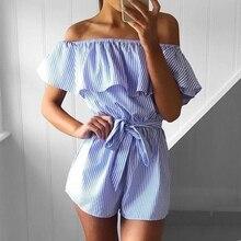 Casual Stripe Lace-Up Summer Playsuit Women Fashion Ruffle L