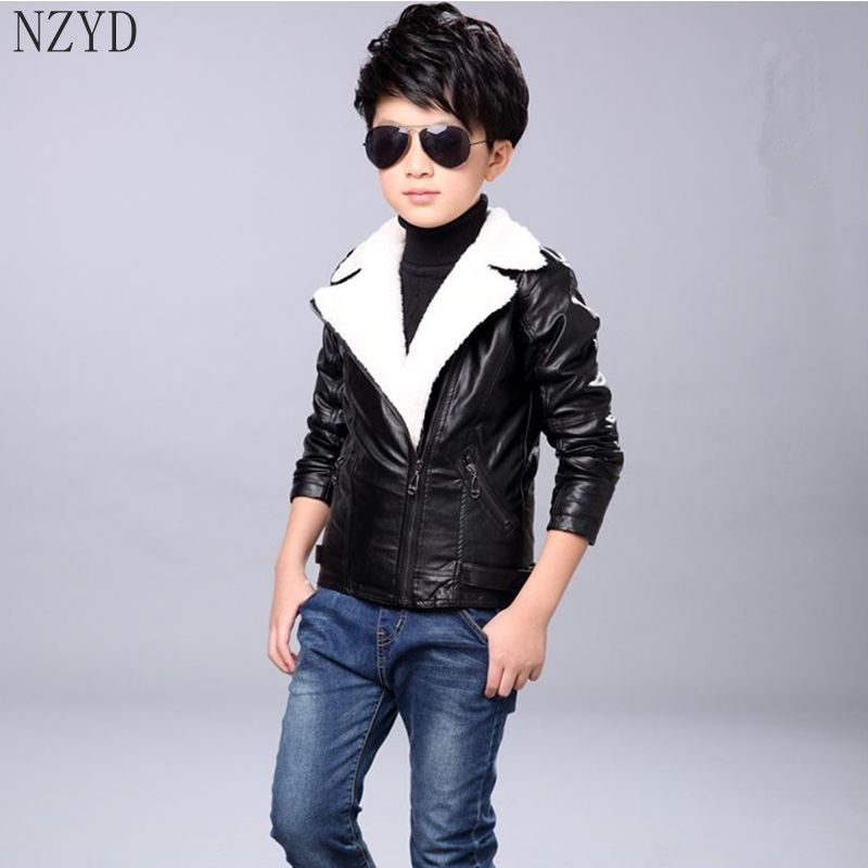 New Fashion Autumn Winter Boy Girls Clothes Long Sleeve Handsome Leather Jacket  Pure Color Warm Thicken Children Coat HL0493 warm thicken baby rompers long sleeve organic cotton autumn